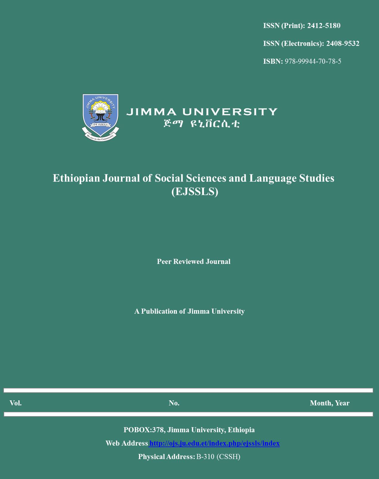 Ethiopian Journal of Social Sciences and Language Studies